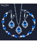 Best Wish Bridal Jewelry For Women Silver Color Sky Blue Crystal Costume... - $30.71