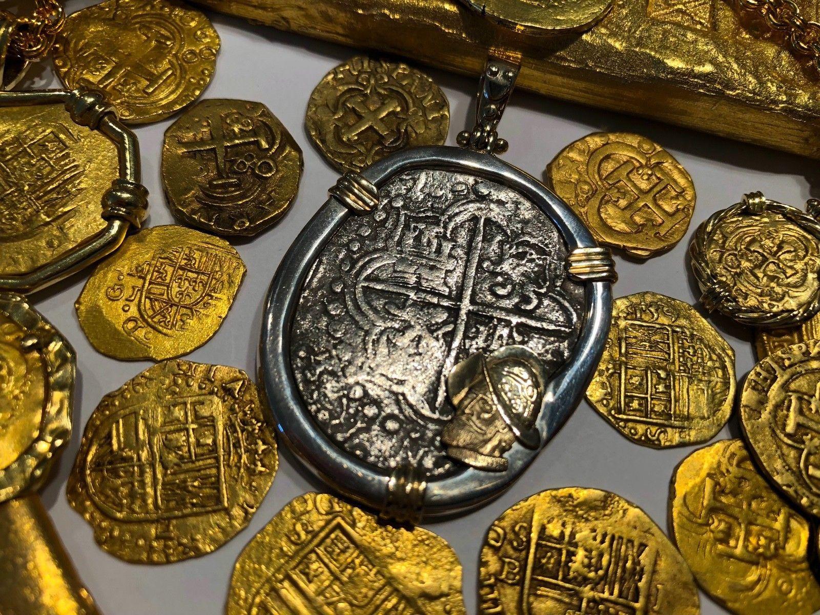 "ATOCHA NECKLACE 1619 BOLIVIA ""MEL FISHER COA"" PIRATE GOLD TREASRUE COIN JEWELERY"