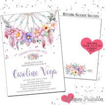 Boho Dream Catcher Watercolor Floral Baby Shower Invitation PRINTABLE Th... - £11.55 GBP