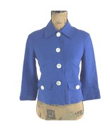 NEW Ralph Lauren Jacket XS 2 Petite 100% Linen Cobalt Blue Ivory Button ... - $41.60