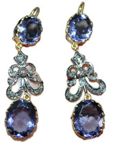 Victorian 1.50ct Rose Cut Diamond Amethyst Anniversary Earrings - $393.64