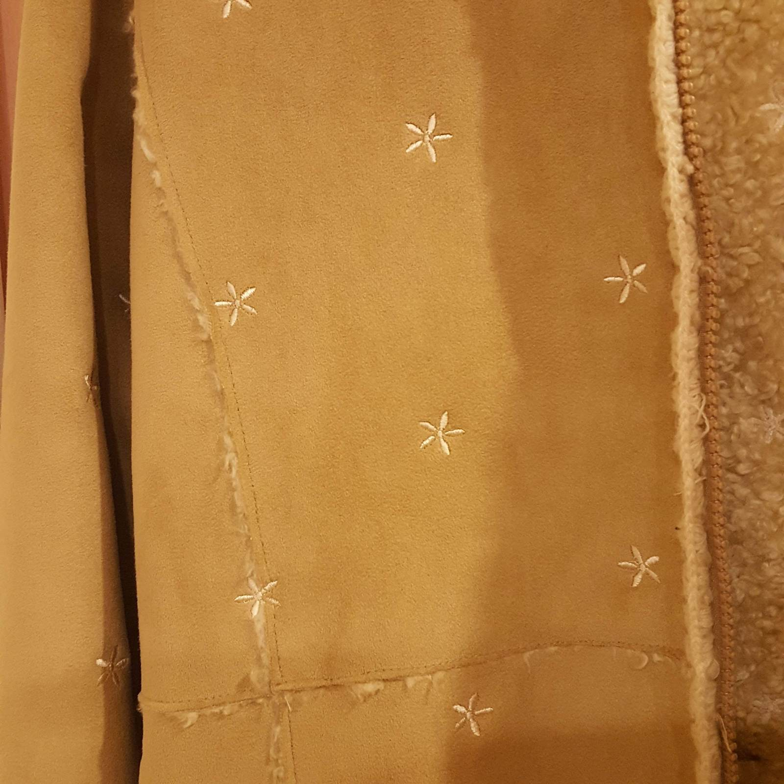 GAP GIRLS FAUX SUEDE BEIGE COAT XXL 14-16 with embroidery image 10