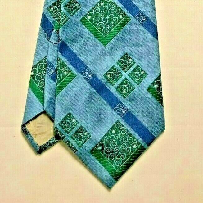 Primary image for Vintage CHRISTIAN DIOR Men's Tie Blue Green Pattern Stripe Scrolls Rich's WPL490