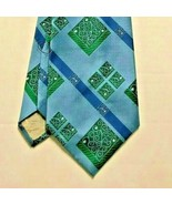 Vintage CHRISTIAN DIOR Men's Tie Blue Green Pattern Stripe Scrolls Rich'... - $12.99