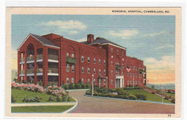 Memorial Hospital Cumberland Maryland linen postcard - $6.00