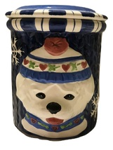 Holiday Pooch Puppy in Beanie Blue Ceramic Small Cookie Jar - $28.00