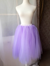 Women's Knee Length Tutu Tulle Skirt High Waist Tutu Party Skirts Light Purple