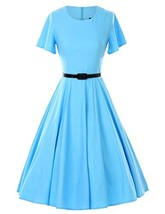 GownTown 1950s Vintage Dresses Butterfly Sleeve Swing Stretchy Dresses,L... - $35.17