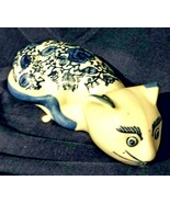 Ceramic Cat Figurine Cobalt Blue On White Decor - $14.94 CAD