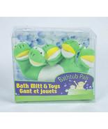 BATHTUB PALS NEW CHILD'S GREEN FROG TERRY CLOTH BATH MITT & PAIR FROG TU... - $6.56