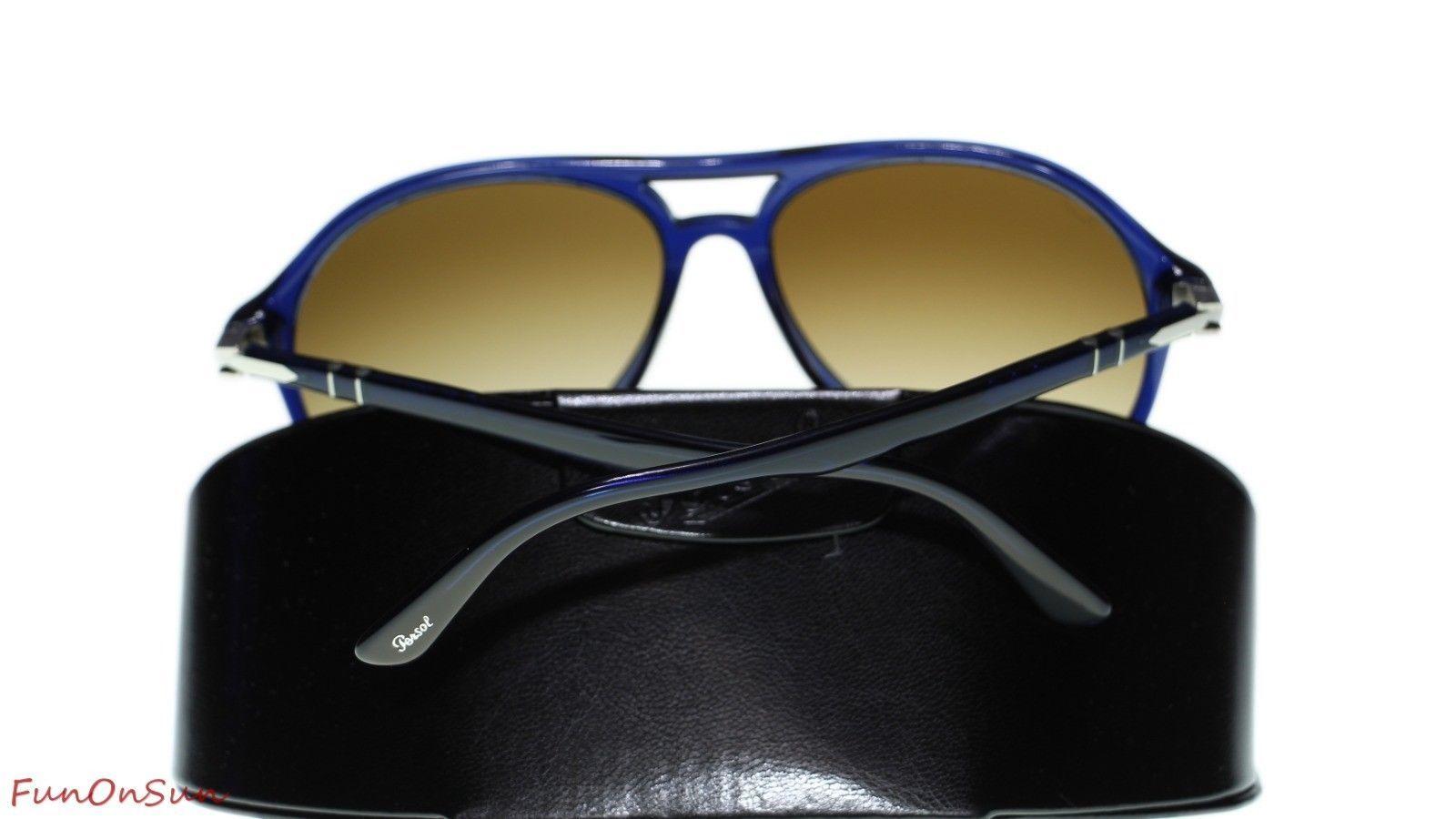 c9d6daa8c1f82 Persol Mens Sunglasses PO3194S 107451 Blue Clear Gradient Brown Lens Pilot  59mm