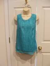 NWT $36 Worthington turquoise rain sleeveless top small 4-6 - $13.37