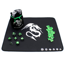 Polyhedral Metal Dice Set with DnD Play Mat, Dice Bag and Counters - Green - $39.90