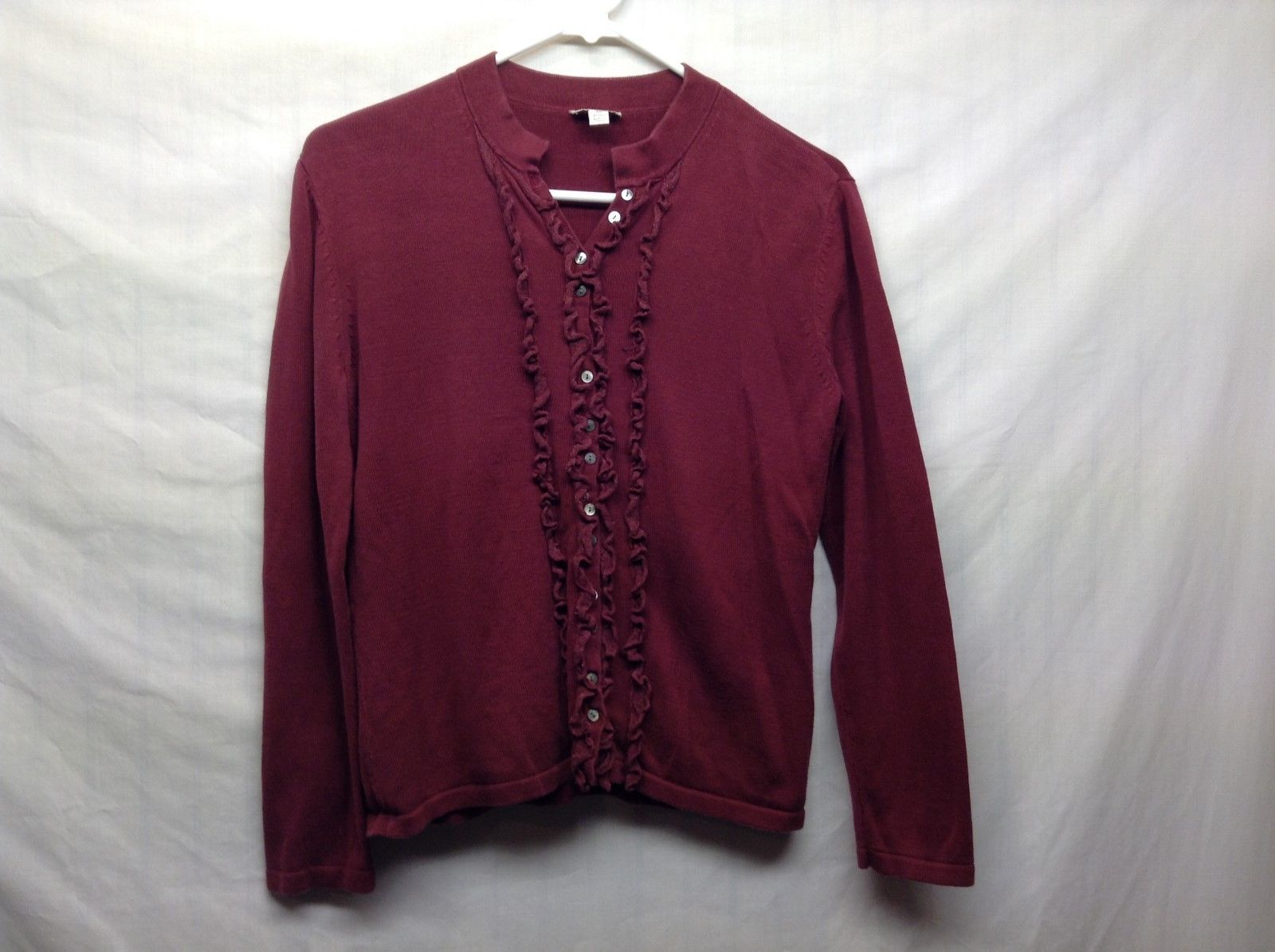 J.Jill Maroon Front Button Frilly Silk Blend Sweater Sz SP