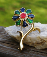 Vintage Flower Brooch, Blue Green Red Enamel, White Crystal, Gold - $80.00