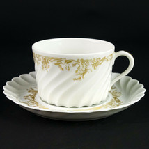 Haviland Limoges Ladore Cup & Saucer Set, Vintage Gold Decor Swirl Coffee Teacup - $9.80