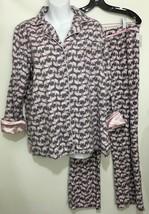 Ellen Tracy Womens M Pink Elephants Gray Cotton Flannel Pajamas Set Top ... - $41.65