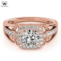 Round Cut White CZ Rose Gold Plated 925 Silver Women's Engagement Weddin... - $97.99