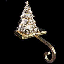 Heavy Brass 3D Three Dimensional Long Arm Christmas Tree Stocking Hanger... - $179.99