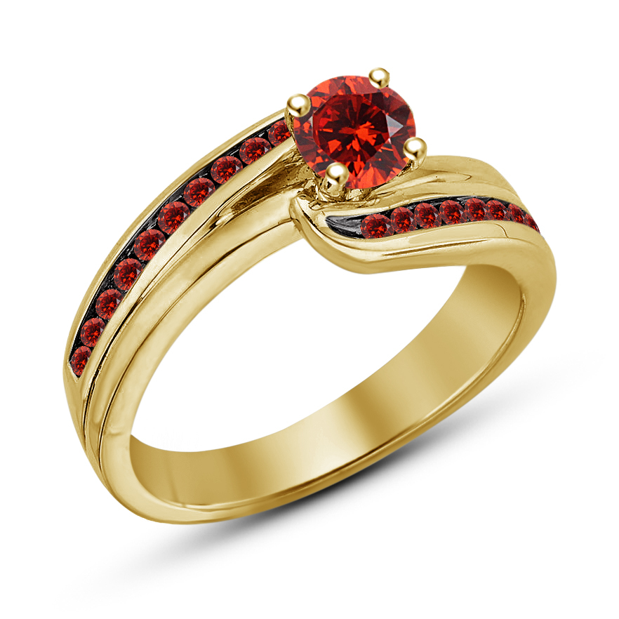 Women's Anniversary Ring Round Cut Red Garnet 14k Yellow Gold Plated 925 Silver