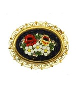 VINTAGE MICRO MOSAIC FILIGREE GOLD TONE BLUE RED WHITE YELLOW GREEN PIN ... - $80.57