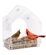 Window Bird Feeder House with Sliding Feed Tray, Clear Sturdy Robust Bir... - $91.27
