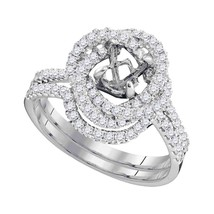 18kt White Gold Womens Round Diamond Semi-Mount Wedding Bridal Ring Set 5/8 Cttw - $1,602.55