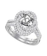 18kt White Gold Womens Round Diamond Semi-Mount Wedding Bridal Ring Set ... - $1,602.55