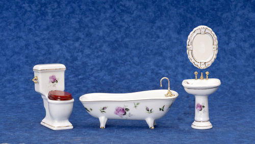 DOLLHOUSE MINIATURE 4 PC PINK ROSES BATH SET #T5362