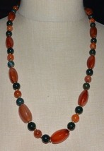Heavy Gold Tone Red Pink Agate Carnelian Stone Bead Beaded Necklace Vintage - $39.59