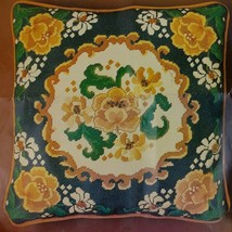 "Floral Needlepoint Pillow Kit Bucilla 15"" Knife Edge Square Blue Gold Mu... - $38.95"