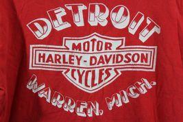 Vintage 80s 3D Emblème Homme Petit Harley Davidson Detroit Chemise Rouge image 8