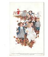School Rally Day Children Autumn Leaves Edgemoor DE 1912 Postcard FM Bra... - $6.69