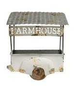 Unique Farmhouse Decor Galvanized Metal Flower Plant Wagon Wall Display ... - $88.19