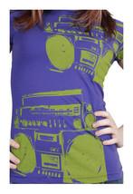 Famous Stars & Straps Viola da Donna Verde I'M Only Danza Boombox T-Shirt Nwt
