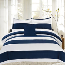 Blue/White Nautical Stripe Reversible Down Alternative 4 Piece Comforter... - £19.15 GBP+