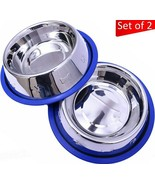 Set 2 Dog Bowls 32 oz. Stainless Steel Non-Skid No-Tip Silicone Ring Pets   - $22.40