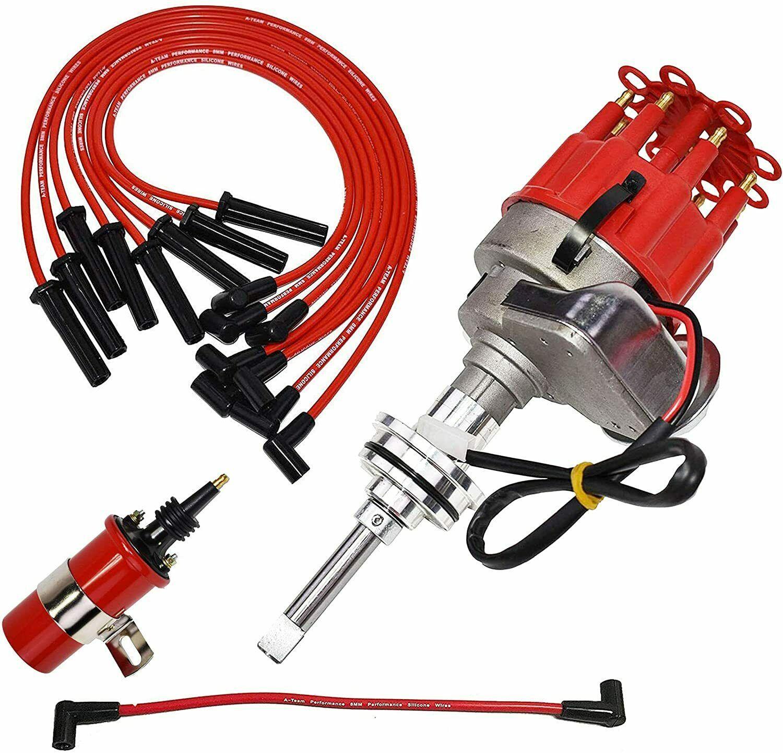 Chrysler Dodge Mopar R2R Distributor 273 340 360 8mm Spark Plug 45K Volt Coil