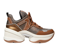 Michael Kors Women's Olympia Trainer Glitter Chain Mesh Bronze Sneaker Shoes image 2