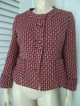 Ann Taylor Loft Blazer 4 Retro Style Wool Blend Unique Button Front - $47.50