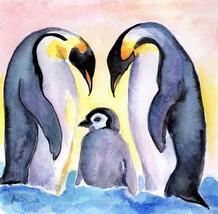 Akimova: PENGUIN FAMILY, bird, watercolor - $12.00