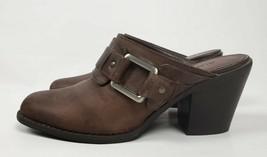 GIANNI BINI Brown Distressed Leather Buckle Slip On Block Heel Mule Shoe Sz 8.5 - $29.72