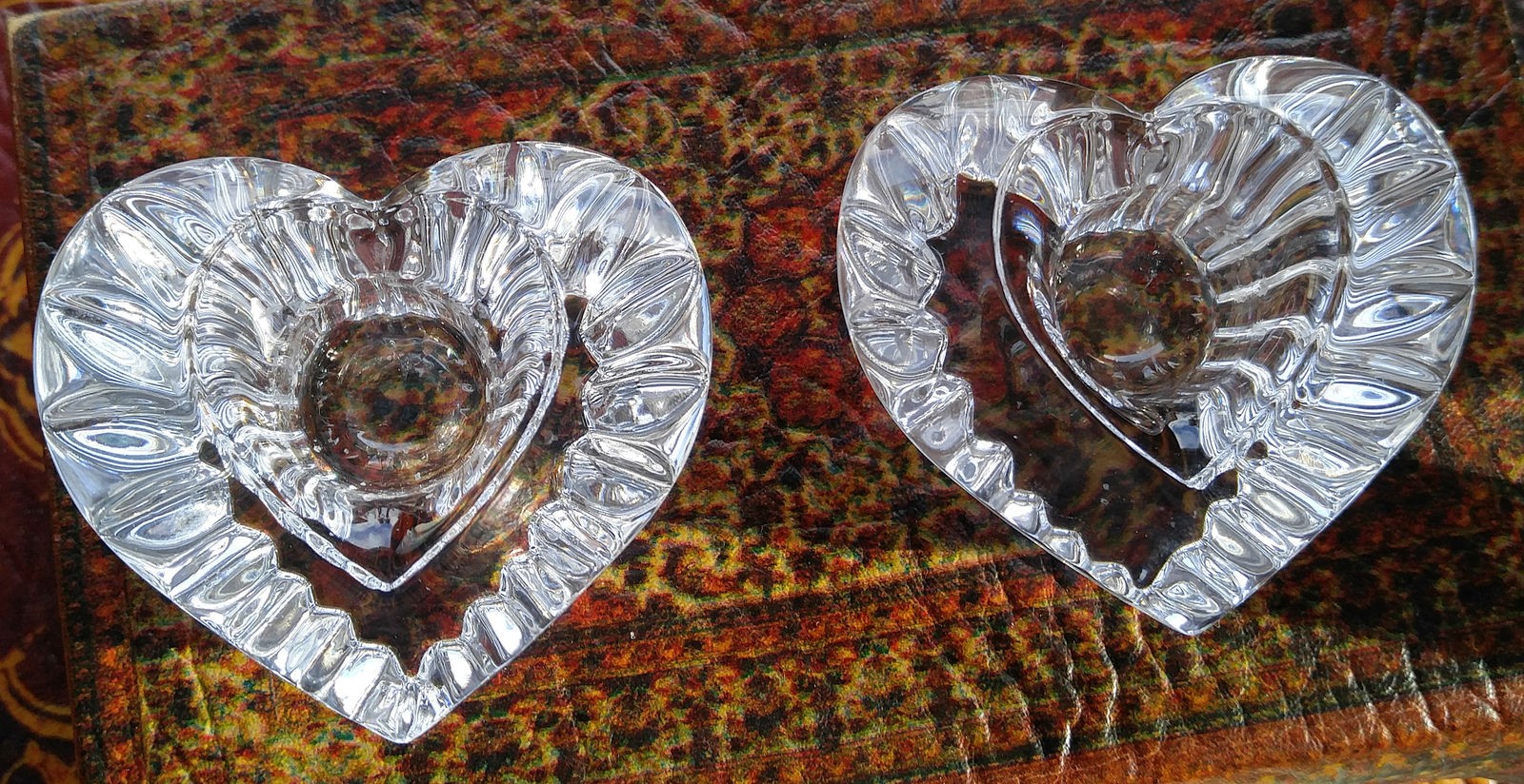 "Vintage Mikasa Lead Crystal Candle Holders - ""Heartfelt"" Design"