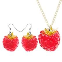 WEVENI Acrylic Jewelry Set Cute Sweet Red Raspberry Necklace Earrings Collar Pen - $12.98