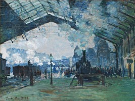 Arrival of the Normandy Train Painting by Claude Monet Art Reproduction - $32.99+