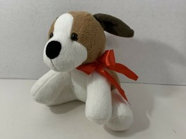 Animal Adventure 2017 brown tan white plush puppy dog red ribbon bow - $19.79