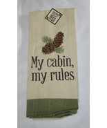 My Cabin My Rules Tea Towel Pine Cones Woodland River New Embroidered Green - $14.84
