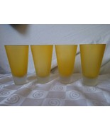 Hand Blown Satin Glass Golden Yellow Tumblers Heavy Thick Bottom Frosted - $71.20