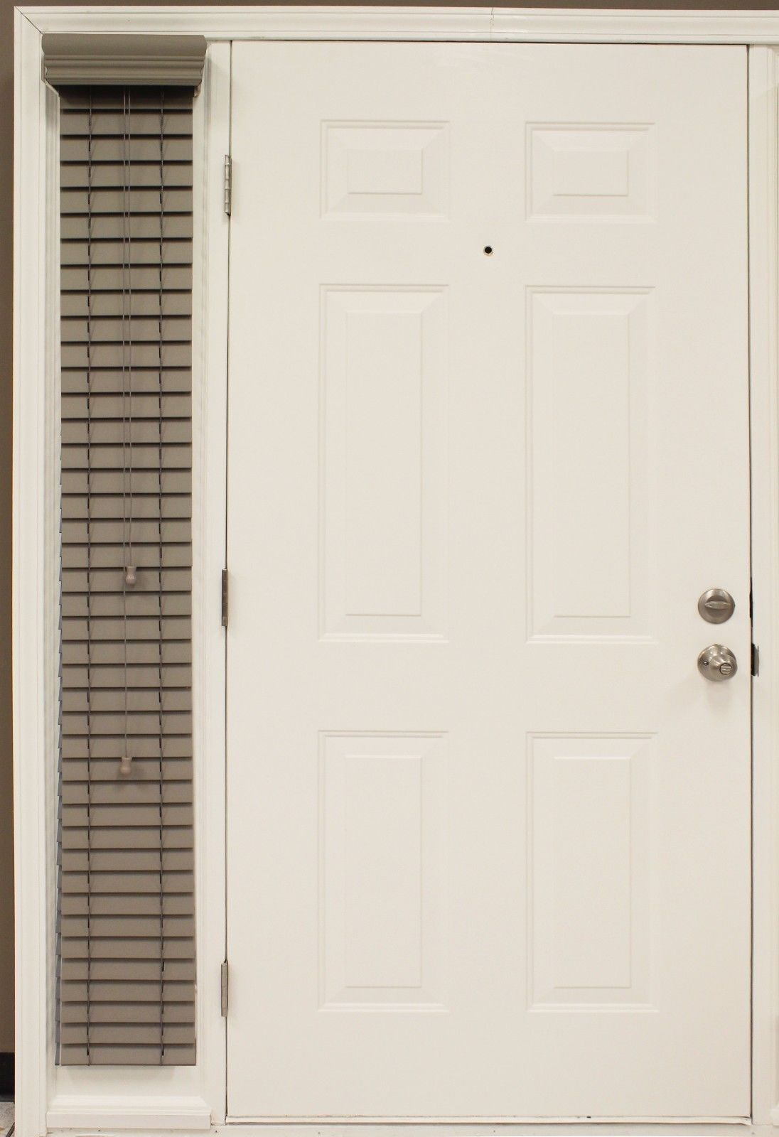 """Custom-made, 2"""" Fieldstone Faux Wood Single SIDELIGHT Blind for Side of Door for sale  USA"""