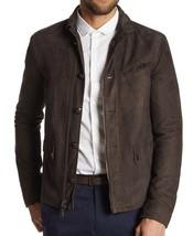 John Varvatos Collection Men's Sheep Skin Leather Zip Button Jacket Coffee EU 52 - $789.12